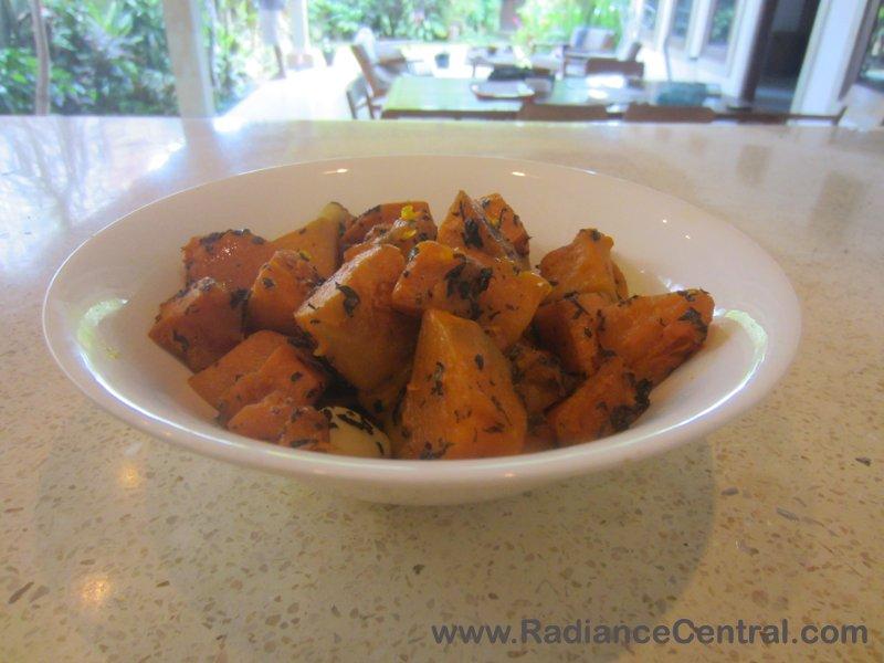 Roasted Pumpkin with Garlic & Basil Recipe- www.RadianceCentral.com